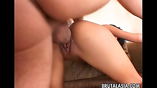 Busty Asian slut enjoys rough anal coition