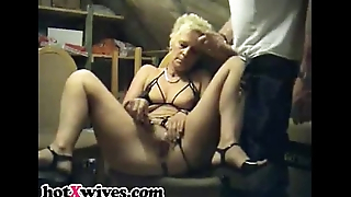 Bound babe in arms gets deepthroat