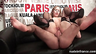 French slut in stockings hard double penetrated and fisted for her casting couch