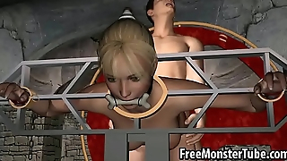 Restrained 3D kermis sucks cock and gets fucked