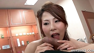 Busty japanese giving handjob and deepthroat